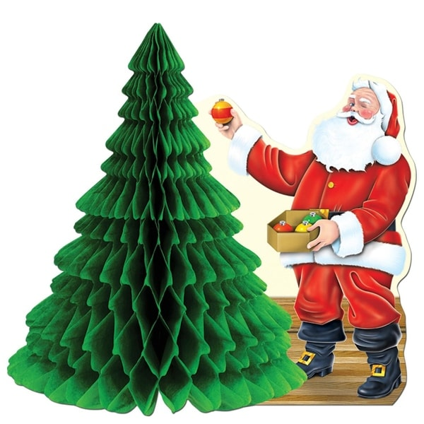 """Pack of 12 Santa With Tissue Tree Centerpiece Christmas Decorations 11"""""""