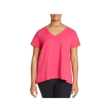 One A Womens Plus T-Shirt Slub Short Sleeves