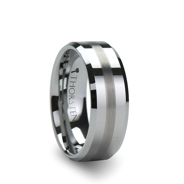 THORSTEN - GRENOBLE Flat Beveled Tungsten Wedding Band with Brushed Stripe - 6mm