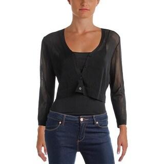 Lauren Ralph Lauren Womens Petites Cardigan Top Sheer 3/4 Sleeves