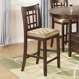 Wooden Contemporary Armless Counter Height Chair, Tan & Warm Brown., Set of 2