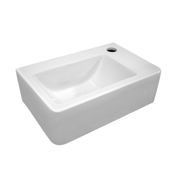 """Whitehaus WH-1410 Isabella 14-1/2"""" Clay Wall Mounted Bathroom Sink with Single Hole Drilled - White"""