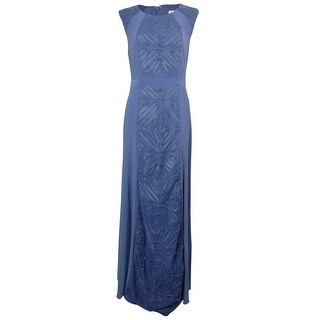 Patra Women's Soutache Mesh Panel Long Jersey Dress - INDIGO