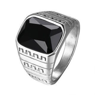 Black Solitaire Stone Ring Mens Stainless Steel Silver Tone Greek Design 16 MM