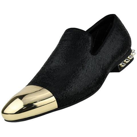 Amali Men's Crinkle Metallic Smoking Slipper Dress Shoe, Style Axel