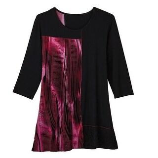 Women's Tunic Top - Plum Velvet and Black Asymmetrical Hem Blouse