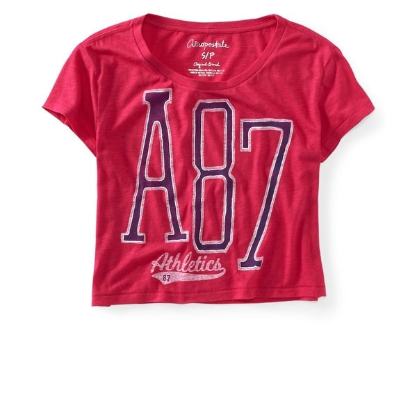 Aeropostale Womens Cropped A87 Athletics Graphic T-Shirt, Pink, X-Large. Opens flyout.