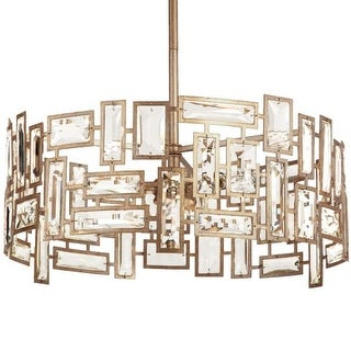 """Park Harbor PHPL5153 Hand Applied Antique Silver Leaf Afton 21"""" Wide 3 Light Single Pendant with Metal and Glass Accents"""