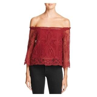 Lucy Paris Womens Crop Top Off-The-Shoulder Lace