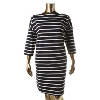 BB Dakota Womens Plus Striped 3/4 Sleeves Wear to Work Dress