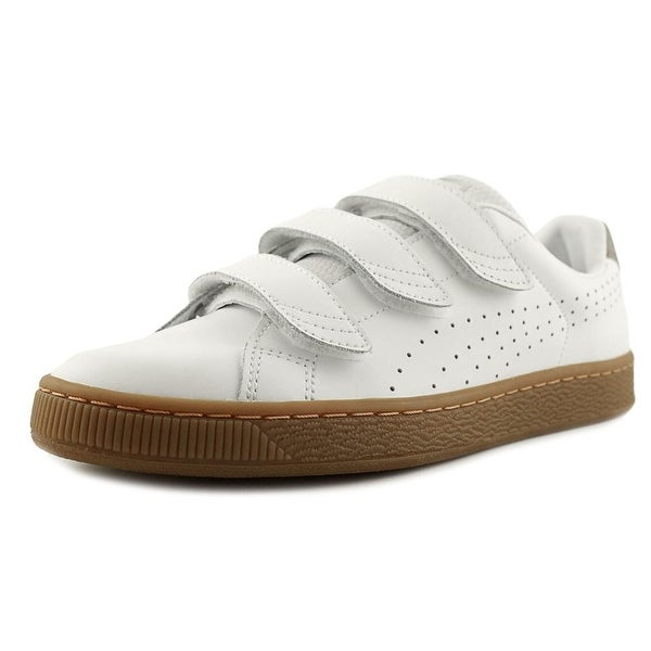 Puma Basket Classic Strap CITI Men Round Toe Leather White Sneakers