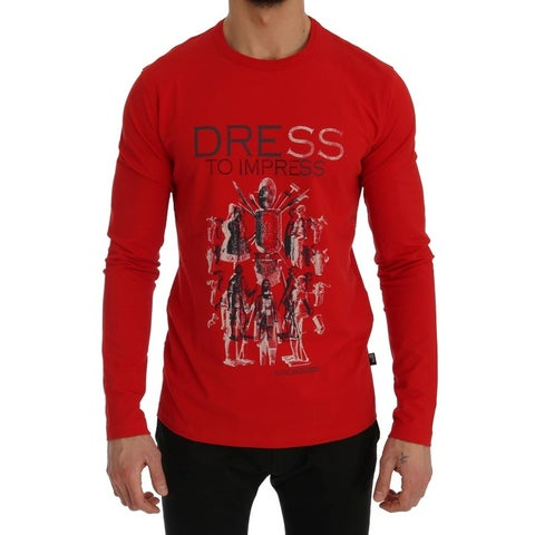 Moschino Moschino Red Motive Print Cotton Stretch T-Shirt