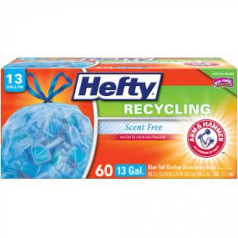 Hefty E85741 Recycling Large Trash Drawstring Bags, Blue, 30-Gal, 36-Count