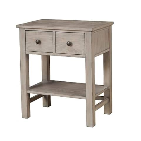 Transitional Nightstand with Two Drawers and Bottom Shelf, Gray - As Pictured