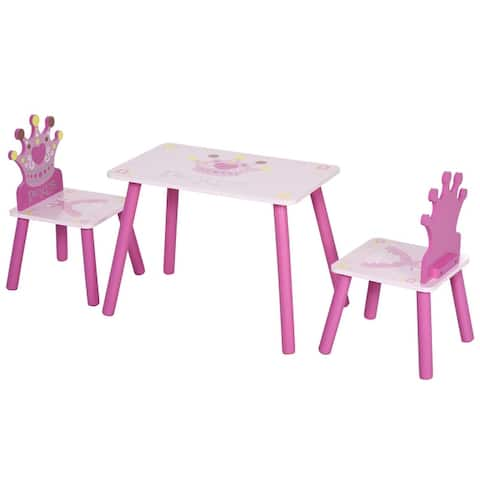 Qaba 3-Piece Set Kids Wooden Table Chair with Crown Pattern Easy to Clean Gift for Girls Toddlers Age 3 to 8 Years Old Pink