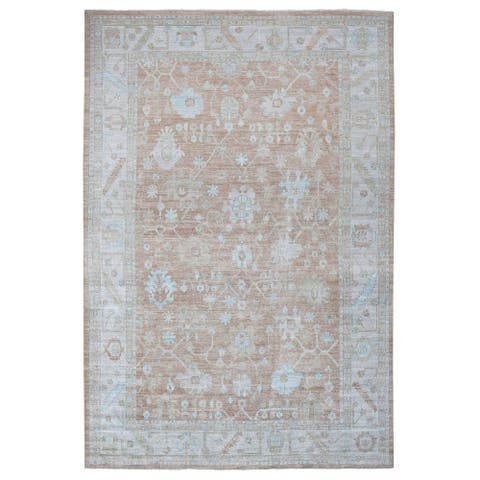 """Shahbanu Rugs Oversize Almond Brown Oushak Extremely Durable Organic Wool Hand Knotted Oriental Rug (12'1"""" x 18'0"""")"""