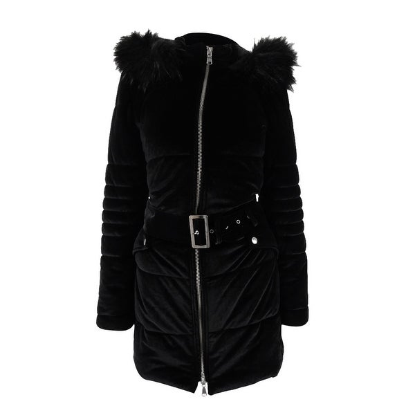 66971a263 Shop INC International Concepts Women's Hooded Velvet Puffer Coat - Deep  Black - Free Shipping Today - Overstock - 24207007
