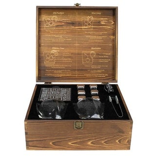 Atterstone Cocktail Box Set with Swirl Glass, Chilling Stones, Storage Bag, Coasters, Tongs, & Wooden Gift Box Set