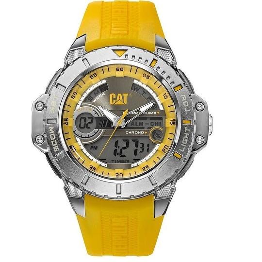 CAT Anadigit mens Ana-digi Watch Yellow Rubber Strap Watch