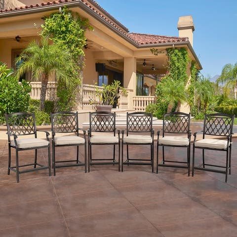 Clihome 6 Pieces Cast Aluminum Diamond-Mesh Dining Bar High Chairs - N/A