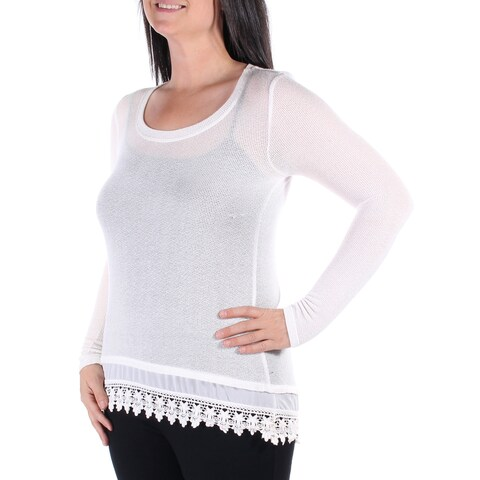 Womens Ivory Long Sleeve Jewel Neck Casual Hi-Lo Sweater Size L