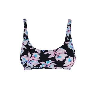 Bar Iii Black Pink Vintage Printed Cutout Bikini Top L