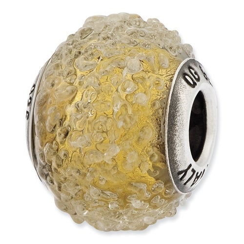 Italian Sterling Silver Reflections Olive Textured Glass Bead