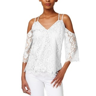 Bar III Strappy Lace Off The Shoulder Top Bright White - l