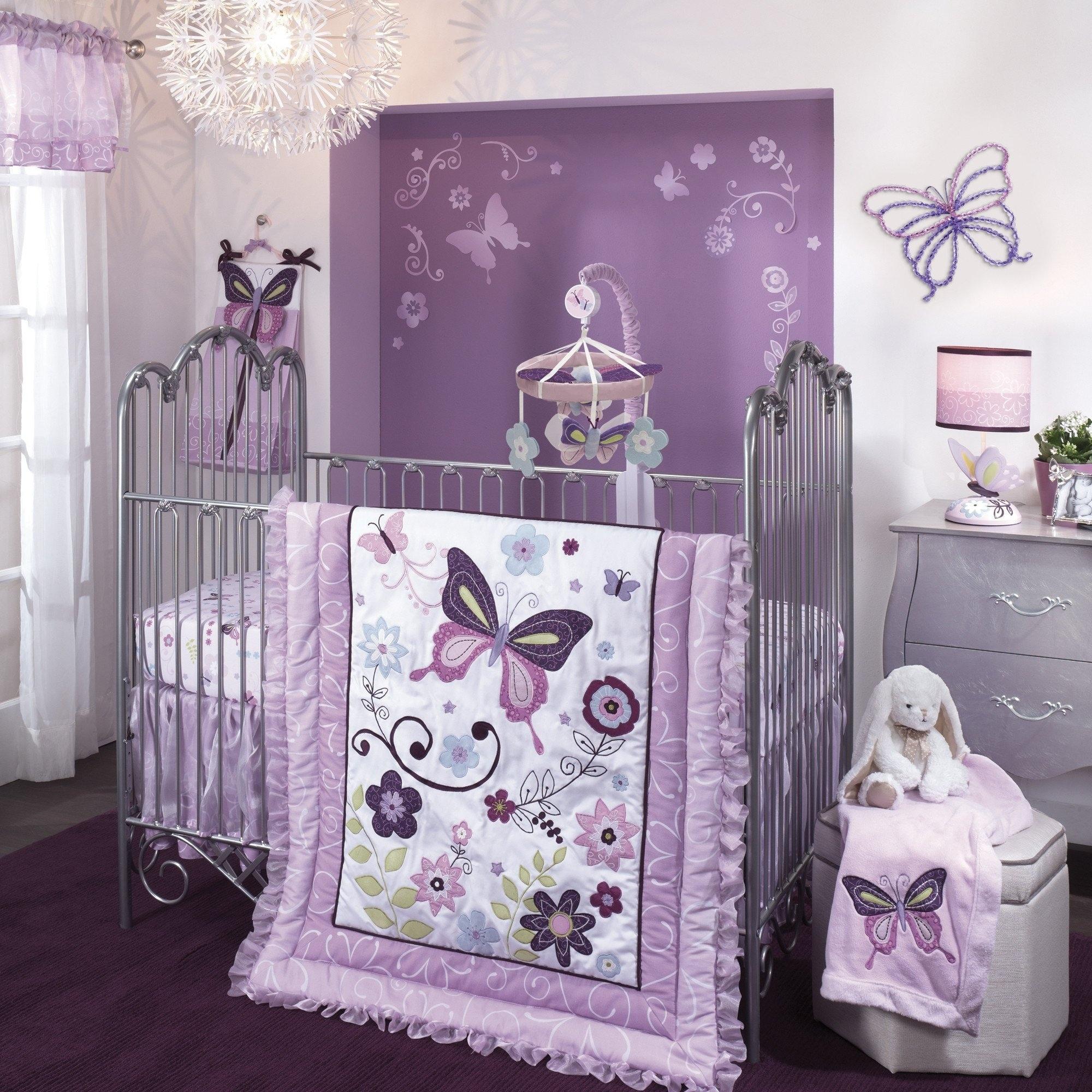 Shop Lambs Ivy Butterfly Lane Purple White 5 Piece Nursery Baby