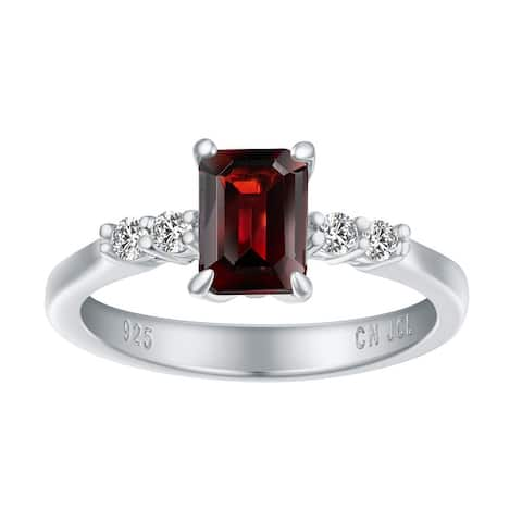 Emerald-Cut Genuine Gemstone Birthstone Ring, Sterling Silver