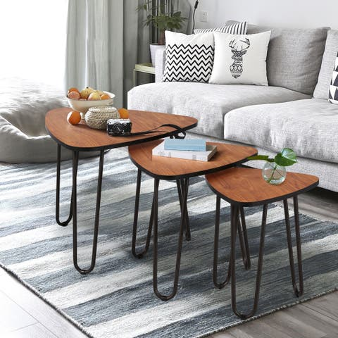 VECELO Modern Wood Nesting Accent Tables (Set of 3)