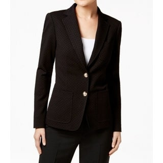 Tommy Hilfiger NEW Black Womens Size 6 Two-Button Velvet-Dots Blazer