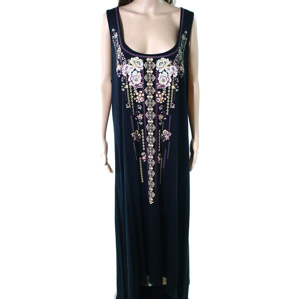 Shop One World Womens Plus Florala Sleeveless Maxi Dress - Free ...