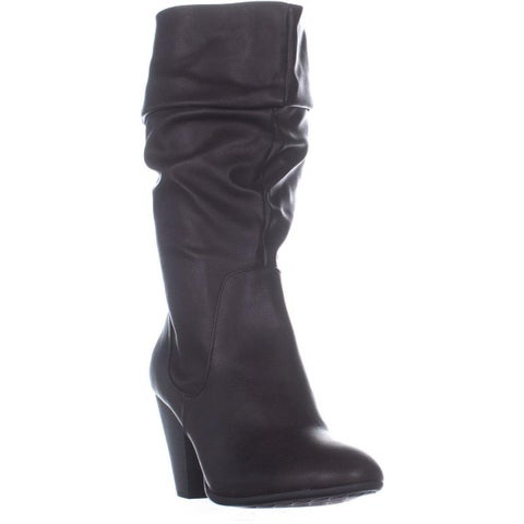 ESPRIT Oliana Folded Top Block Heel Mid Calf Boots, Dark Brown