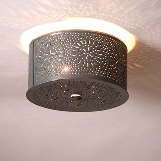 Irvin's Country Tinware Round Ceiling Light with Chisel in Country Tin - 5.5 X 9 X 9 inches