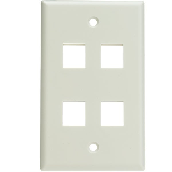 Offex Keystone Wall Plate, White, 4 Hole, Single Gang