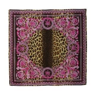 Versace Hot Pink Leo Print Silk Foulard Scarf