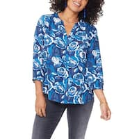NYDJ Blue Womens Size Large L Floral Print Button Front Blouse