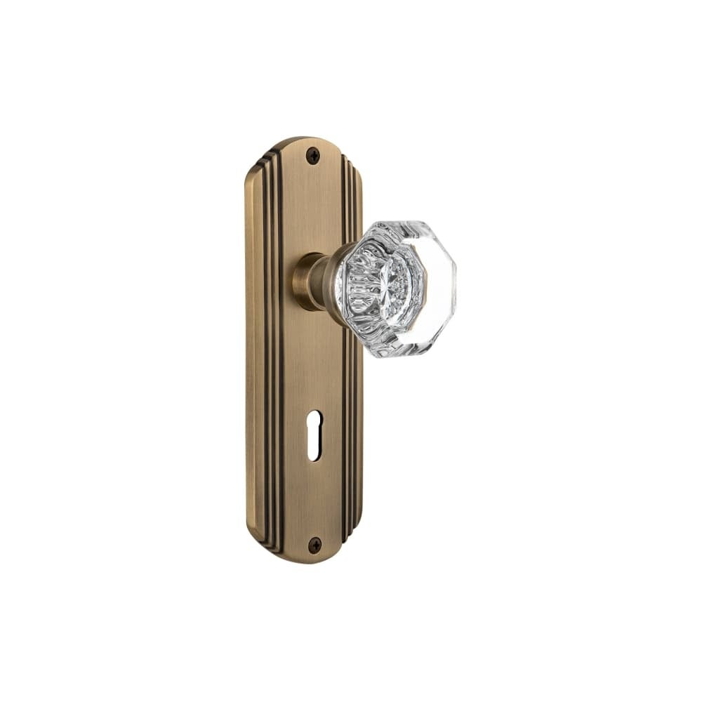 Nostalgic Warehouse DECWAL_SD_KH  Waldorf Solid Brass Single Dummy Knob with Deco Rose and Keyhole (Polished Brass)