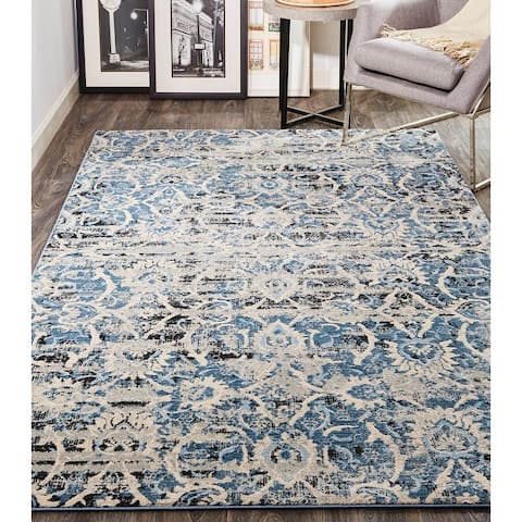 Grand Bazaar Tullamore Blue/Ivory Ornamental Area Rug
