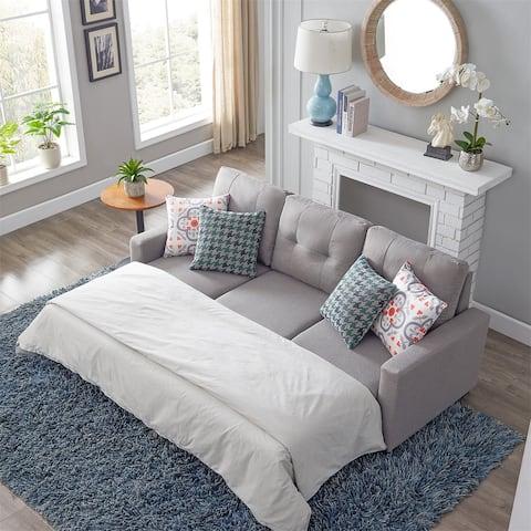 Merax Reversible Sleeper Sectional Sofa, Corner Sofa Bed with Storage