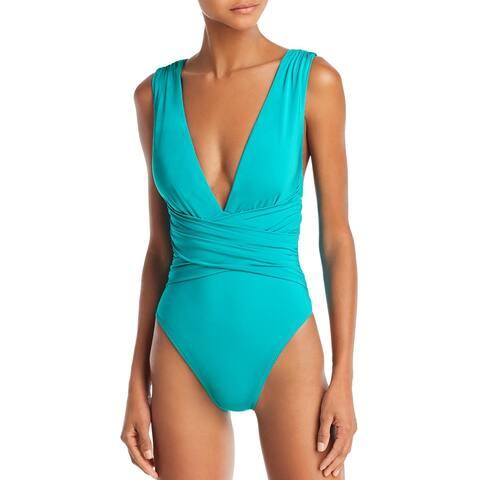Trina Turk Womens Plunge Faux Wrap One-Piece Swimsuit