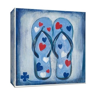"""PTM Images 9-152789  PTM Canvas Collection 12"""" x 12"""" - """"Beach Flip Flops IV"""" Giclee Shoes Art Print on Canvas"""