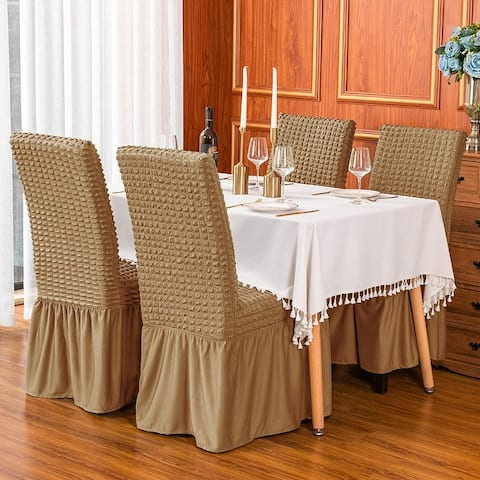 Subrtex Set-of-4 Stretch Dining Chair Cover Ruffle Skirt Slipcovers
