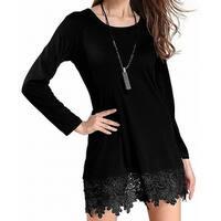Matchstick Deep Black Womens Size Medium M Lace-Trim Shift Dress