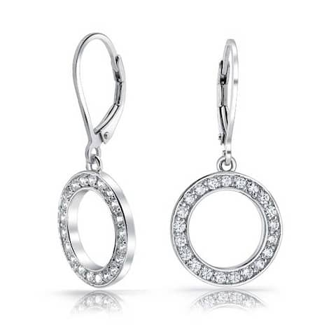 Bridal Prom Cubic Zirconia Pave CZ Open Circle Disc Leverback Dangle Drop Earrings For Women Silver Plated Brass