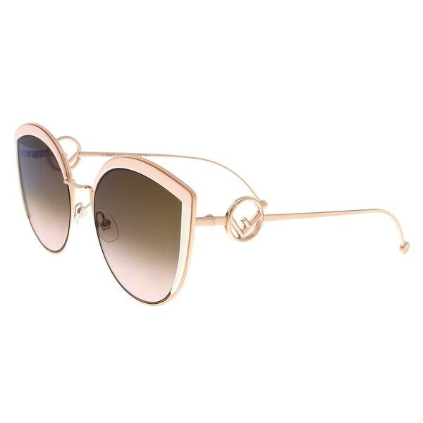 14dd6f90e8f4 Shop FENDI 0290 S 53 035J Pink Cateye Sunglasses - 58-21-140 - Ships ...