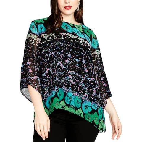 Rachel Roy Womens Plus Blouse Printed Short Sleeves - 22W