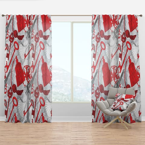 Designart 'Drawing of Paris with Red Keys' Cityscapes Curtain Panel