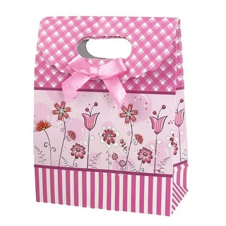 Unique Bargains Bowtie Detail Hook Loop Closure Folding Paper Gift Bag